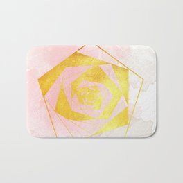 Be Gentle With Me - Soft Pink Gold Geometric Bath Mat