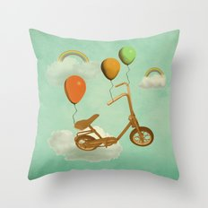 in my world, we bike from cloud to cloud ! Throw Pillow