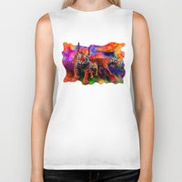tigers Biker Tanks featuring Psychedelic Tigers by JT Digital Art