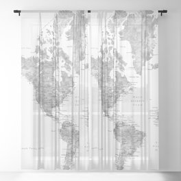 Grayscale watercolor world map with cities Sheer Curtain