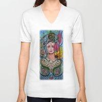 chakra V-neck T-shirts featuring Chakra Mandla by Harsh Malik