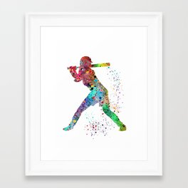 Baseball Softball Player Sports Art Print Watercolor Print Girl's softball Framed Art Print