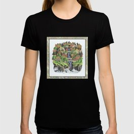 SEASIDE VILLAGE WATERFALL REVISITED COLORED PEN DRAWING T-shirt