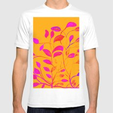 Peaches and Cream Red Leaves MEDIUM Mens Fitted Tee White