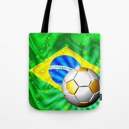 Brazil Flag Gold Green and Soccer Ball Tote Bag