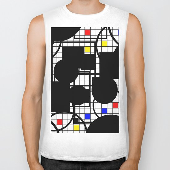 Colour Relationships - Black, white, red, yellow, blue, geometric abstract artwork Biker Tank