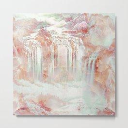 Modern abstract coral pink teal waterfalls Metal Print