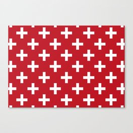 Criss Cross | Plus Sign | Red and White Canvas Print