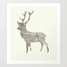 Wood Grain Stag Art Print