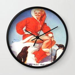 Pin up Girl Winter Fun With Penguins Gil Elvgren Wall Clock