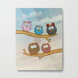funny owl group cartoon on tree Metal Print