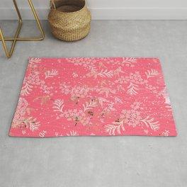 Vintage Japanese Paper Exotic Pink Floral Pattern Rug