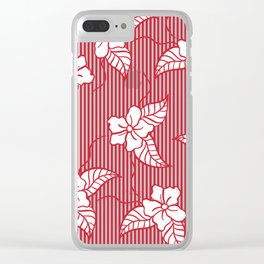Fashion red flame scarlet white floral hand drawn geometric stripes pattern Clear iPhone Case