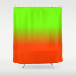 Neon Green and Neon Orange Ombré  Shade Color Fade Shower Curtain