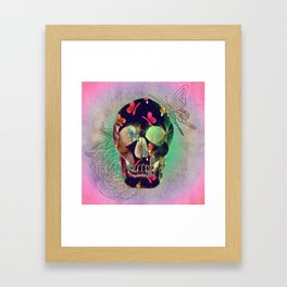 Colorful Hand Drawn Skull with Butterflies on Canvas Framed Art Print