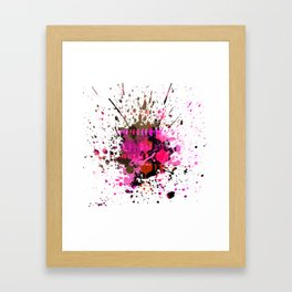 Electro Pink Black Brown Splat Framed Art Print