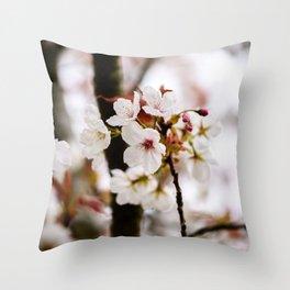 White Cherry Blossoms Throw Pillow