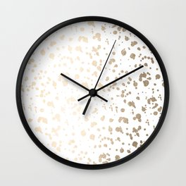 Luxe Gold Painted Dots on White Wall Clock