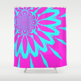 The Modern Flower Fushia & Turquoise Shower Curtain