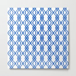 Blue and white curved lines Metal Print