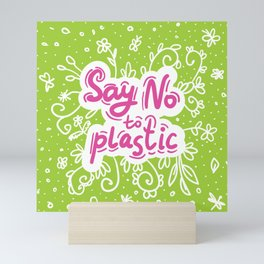Say no to plastic.  Pollution problem, ecology banner poster. Mini Art Print