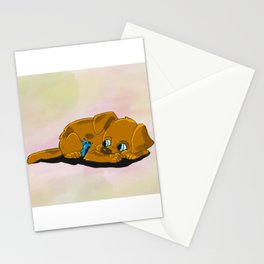 Cartoon Puppy and Bird Cuddling Stationery Cards