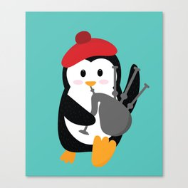 Penguin the Scottish Bagpipes Player - National Tartan Day Canvas Print