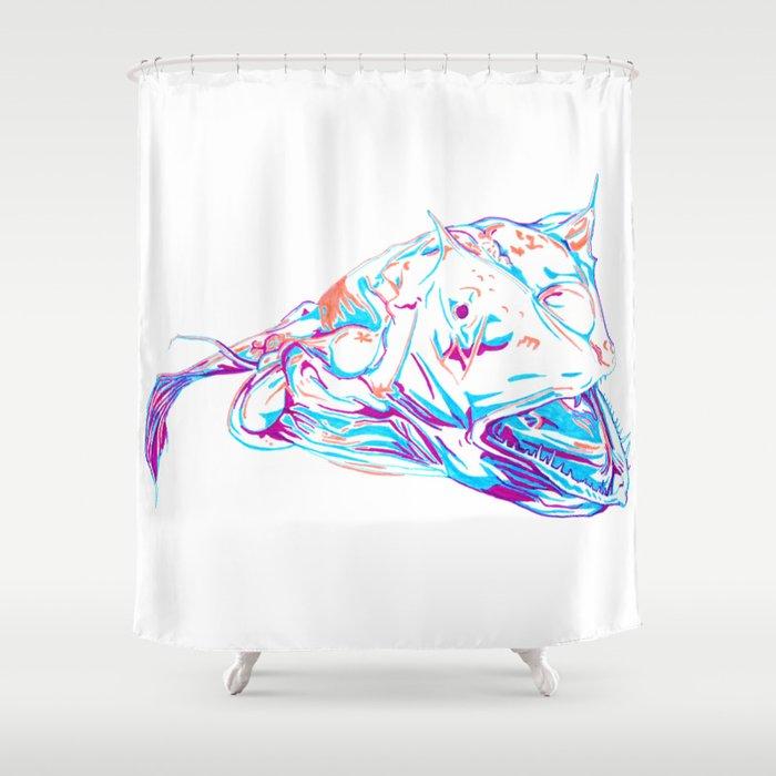 Deep Sea Monster Shower Curtain By Raliz