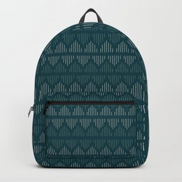 Minimalist Mudcloth 3 in Cream and Olive on Teal Backpack