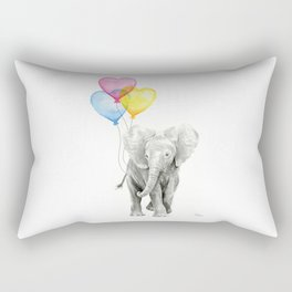 Elephant Watercolor with Balloons Rainbow Hearts Baby Animal Nursery Prints Rectangular Pillow
