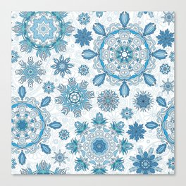 Floral pattern with stylized snowflakes. Christmas winter snow theme pattern. Canvas Print