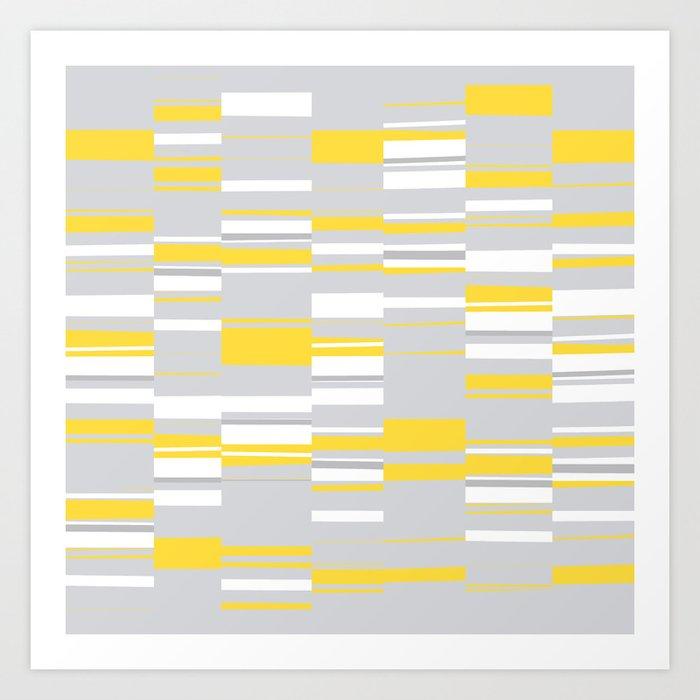 Mosaic Rectangles in Yellow Gray White #design #society6 #artprints Art Print