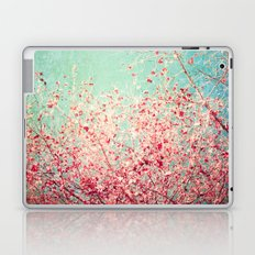 Blue Autumn, Pink leafs on blue, turquoise, green, aqua sky Laptop & iPad Skin