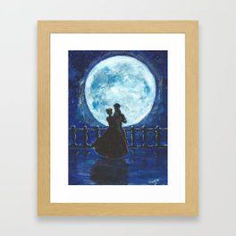Pirate and Princess Dancing in the Moonlight Framed Art Print