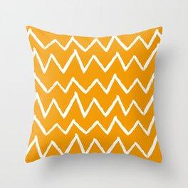 Hand-Drawn Zig Zag (White & Orange Pattern) Throw Pillow