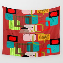 Mid-Century Modern Abstract in Red Wall Tapestry