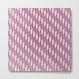 Pink Cross Weave Texture Metal Print