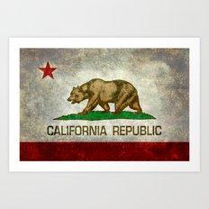 California Republic state flag Vintage Art Print