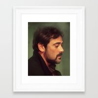 winchester Framed Art Prints featuring john winchester by LindaMarieAnson
