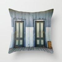 bathroom Throw Pillows featuring Bathroom Doors by Agrofilms