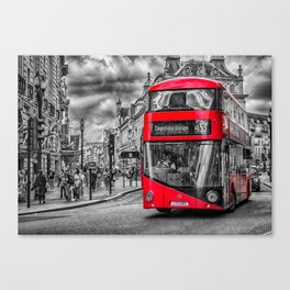 London Red Bus at Piccadilly Canvas Print