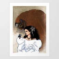 beauty and the beast Art Prints featuring Beauty and Beast by Adrien ADN Noterdaem