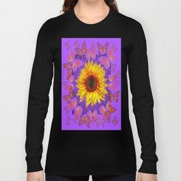 Monarch Butterflies Love Sunflowers Purple Pattern Abstract Long Sleeve T-shirt