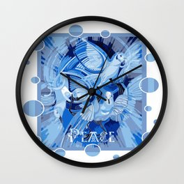 Dove With Celtic Peace Text In Blue Tones Wall Clock