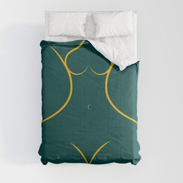 Female Form Front in forest green Comforters