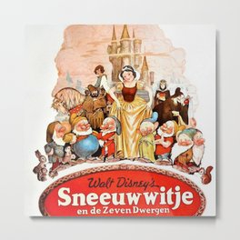 Rare 1937 Dutch Issue Lobby Movie Poster of Snow White and the Seven Dwarfs Metal Print