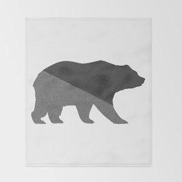 Cotton Gray Bear Throw Blanket