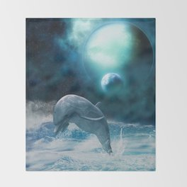 Freedom of dolphins Throw Blanket
