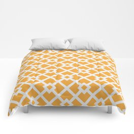 Golden & White Abstract Square Pattern Comforters