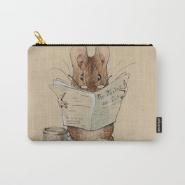 Cute little mouse reading a newspaper Carry-All Pouch